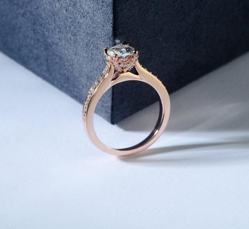 Hafeez Brilliant-Cut Halo Moissanite Engagement Ring Display