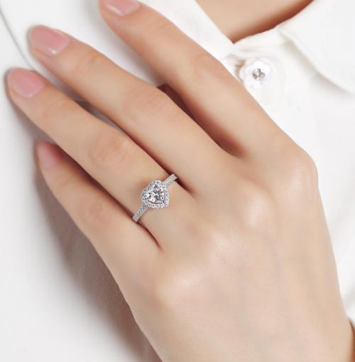 Jeulia Heart-Cut Moissanite Engagement Ring - Silver Version on Model