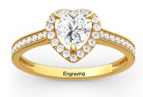 Jeulia Gold moissanite Engagement Ring