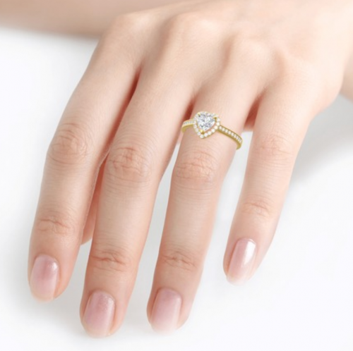 Jeulia Gold moissanite Engagement Ring on Hand