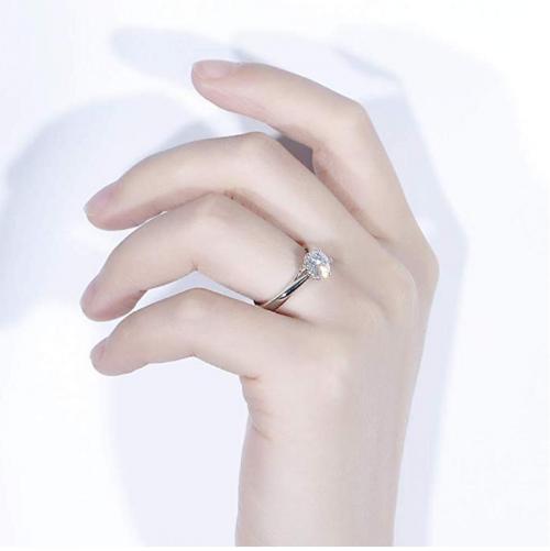 DovEggs Moissanite Engagement Ring on Model