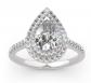 Jeulia Double Halo Pear Shaped Diamond Ring
