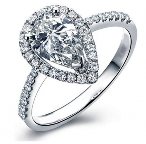 Lemon Grass Pear Shaped Cubic Zirconia Solitaire Ring