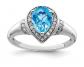 Black Bow Jewelry Co. Pear Shaped Blue Topaz & Pear Diamond Ring