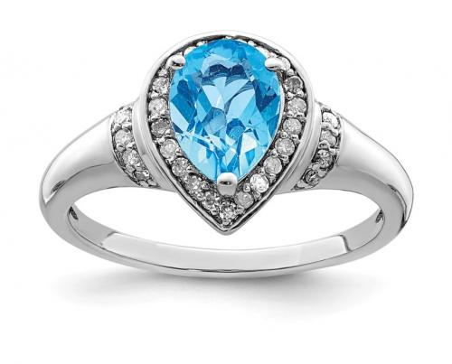 Black Bow Jewelry Co. Pear Shaped Blue Topaz & Diamond Ring
