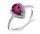Ruby & Oscar Ruby & White Topaz Open Halo Ring