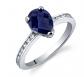 Ruby & Oscar Sapphire & CZ Teardrop Engagement Ring