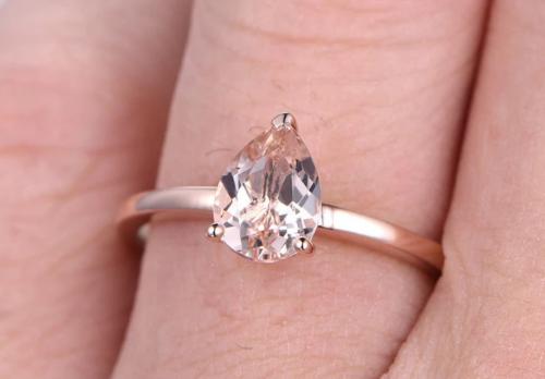 rose diamond pear shaped ring