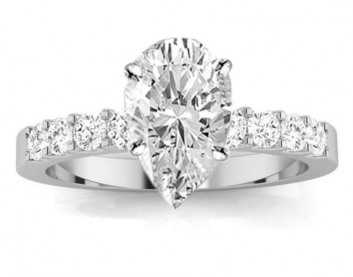 Houston Diamond District Diamond Pear Shaped Engagement Ring