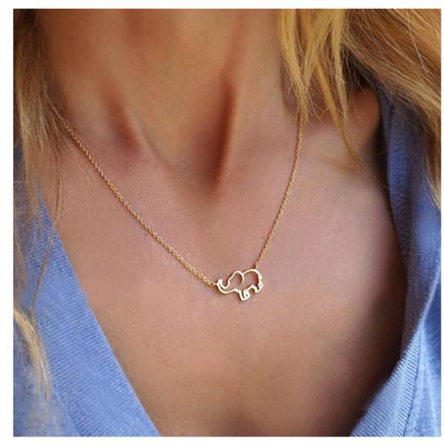Dremmy Studios elephant necklace on model