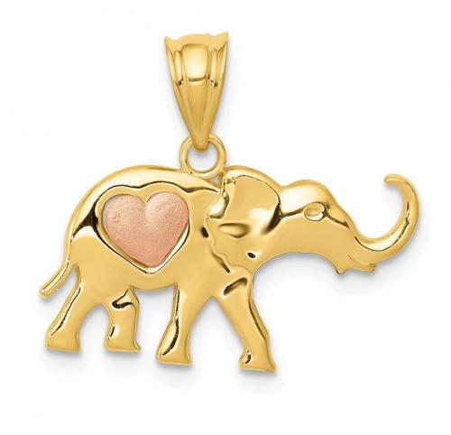 Black Bow Jewelry Co. 4k Two Tone Gold Elephant  Pendant