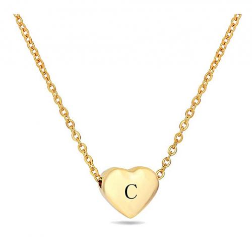 VQYSKO 18K Gold Pleated Heart Letter Necklace
