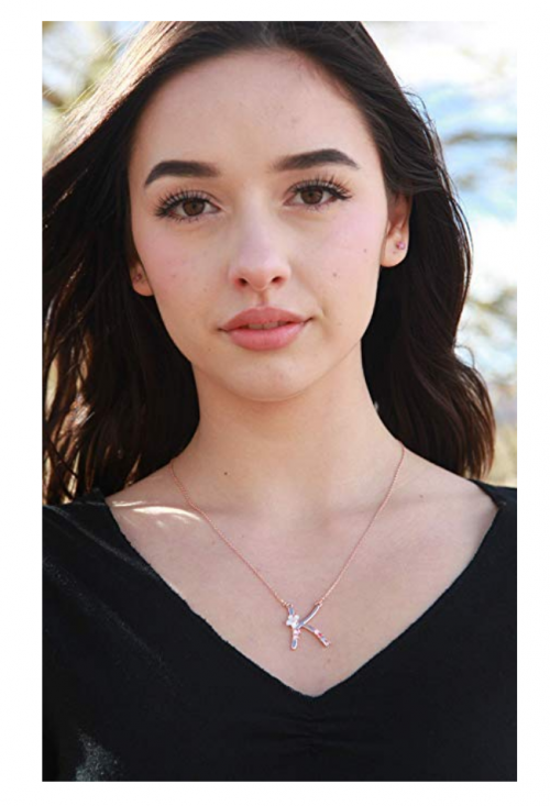 Gemmance Rainbow Letter Necklace on Model