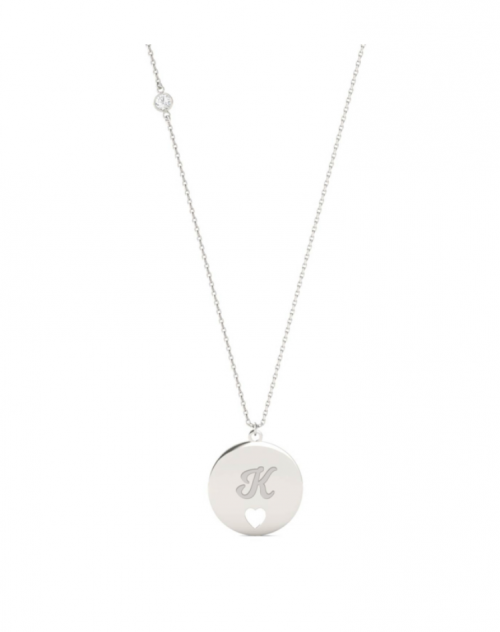 Charles and Colvard Personalized Script Initial Heart Necklace