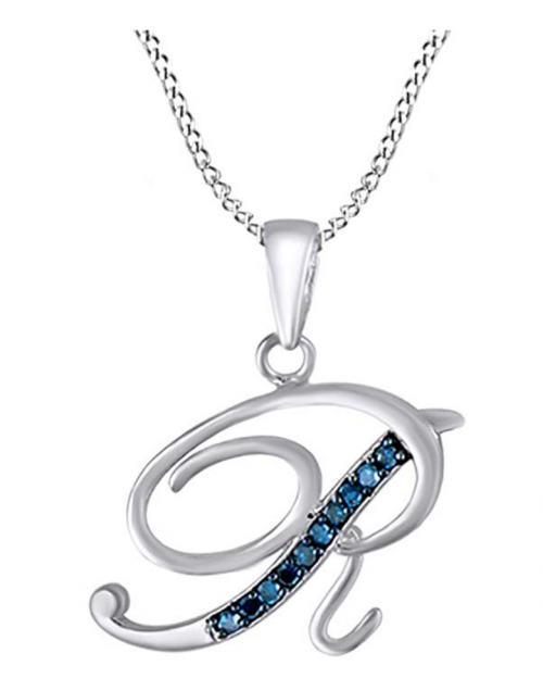 AFFY Blue Natural Diamond Initial Necklace in 14k White Gold Over Sterling Silver