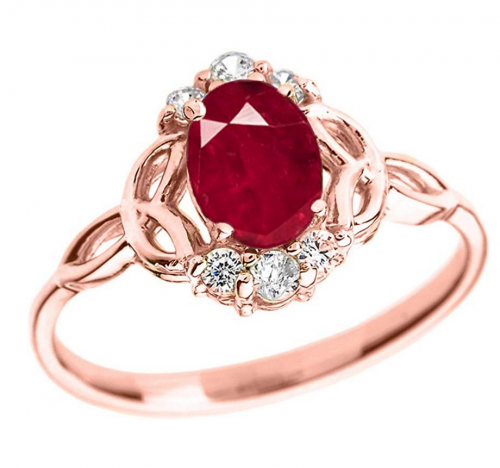 Modern Contemporary Rings Elegant 14k Rose Gold Diamond Trinity Knot Proposal Ring with Genuine Ruby