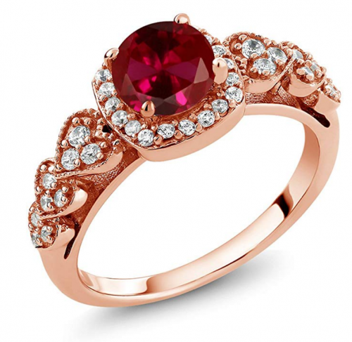 Gem Stone King 1.32 Ct Round Red Created Ruby 18K Rose Gold Plated Silver Women's Ring