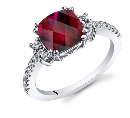 Ruby & Oscar Cushion Cut Ruby & White Topaz Ring