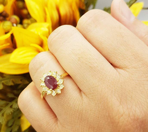 Dazzlingrock Collection Royal Ruby Engagement Ring on Hand
