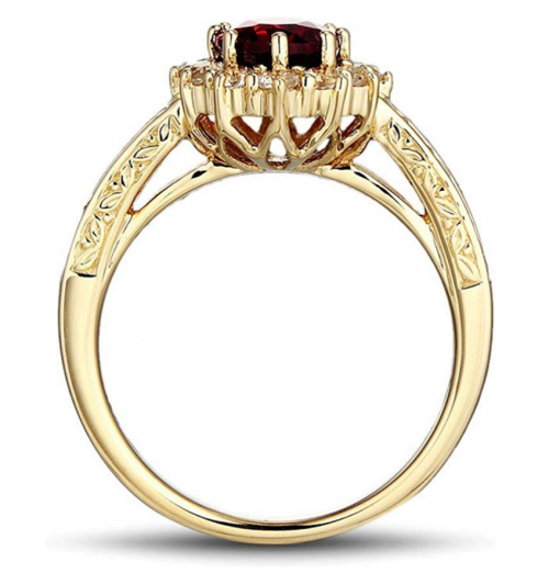 Diamond Classic Jewelry Yellow Gold Ruby Ring from Profile