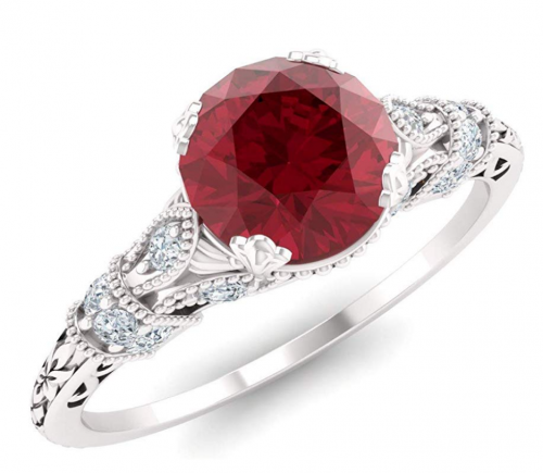 Diamondere Natural and Certified Ruby Ring