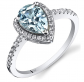 Peora 14K White Gold Aquamarine Open Halo Ring