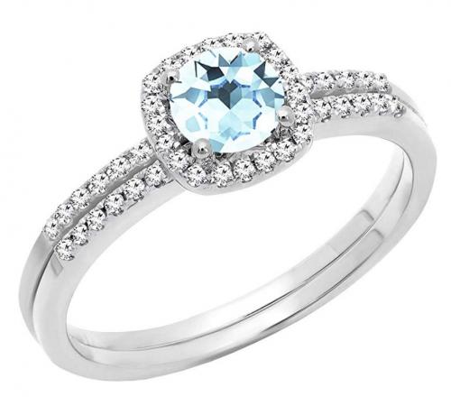 Dazzlingrock Collection Diamond & Aquamarine Ring Set