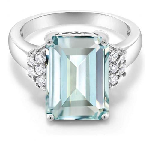 Gem Stone King Emerald-Cut Simulated Aquamarine Ring