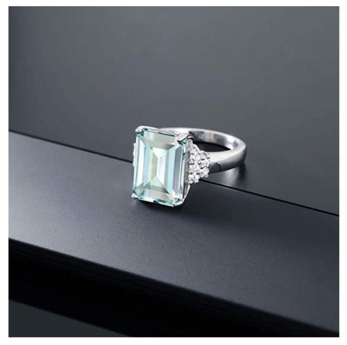 Gem Stone King Emerald-Cut Simulated Aquamarine Ring on Display
