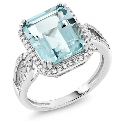 Gem Stone King Sterling Silver Simulated Aquamarine Antique Women's Ring