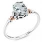 Gem Stone King 925 Sterling Silver & 10K Rose Gold Aquamarine Ring