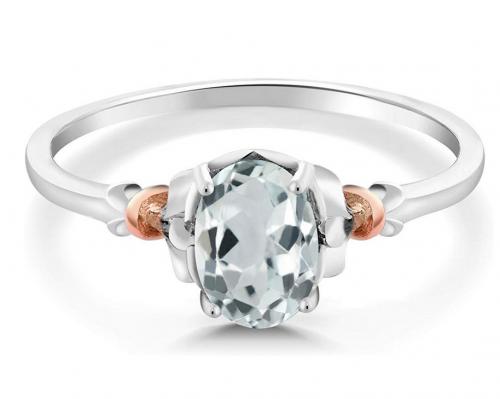 Gem Stone King 925 Sterling Silver & 10K Rose Gold Aquamarine Ring Front Image