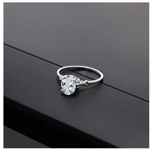Gem Stone King Aquamarine Engagement Ring