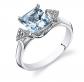 Ruby & Oscar Princess Cut Aquamarine & Diamond Ring
