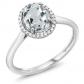Gem Stone King 10K White Gold Sky Blue Aquamarine Engagement Ring