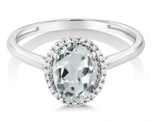 Gem Stone King 10K White Gold Sky Blue Aquamarine Engagement Ring Frontal View