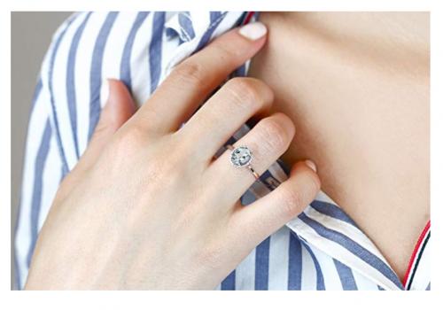 Gem Stone King 10K White Gold Sky Blue Aquamarine Engagement Ring on Model
