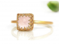 Anemone Jewelry Square Rose Quart Love Ring