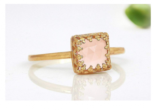 Anemone Jewelry Square Rose Quart Love Ring 2