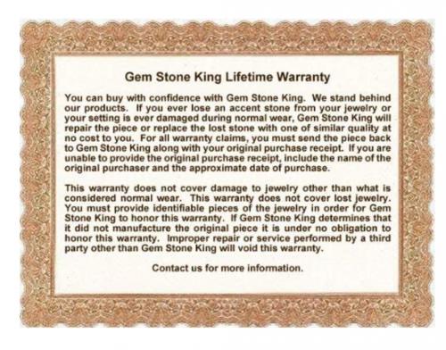 Gem Stone King Lifetime Warranty