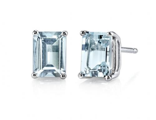 Ruby & Oscar Aquamarine Emerald-Cut Studs