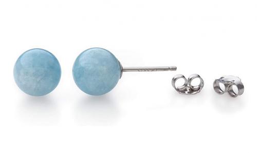 Belacqua Natural Gemstone Stud Earrings from Side