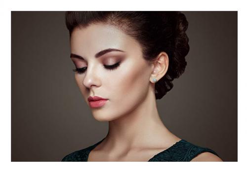 Belacqua Natural Gemstone Stud Earrings on Model