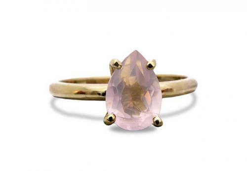 14K Gold Rose Quartz Ring by Anemone Unique Frontal View