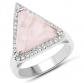 LoveHuang 4.73 Carats Rose Quartz & White Topaz Ring