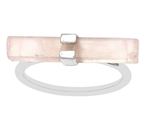 Shine Jewel Rectangular Bar Rose Quartz Handmade Ring