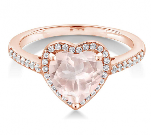 Gem Stone King 18K Rose Quartz Ring w/Swarovski
