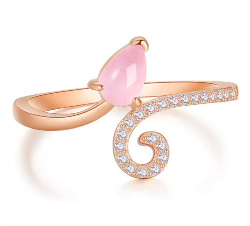 A ANGG 925 Sterling Silver Blue Topaz Pink Quartz Ring