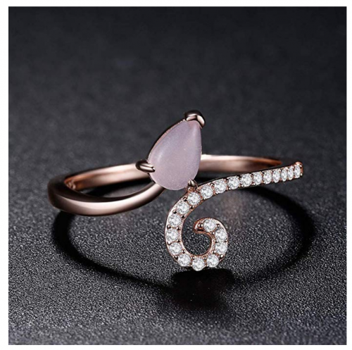 A ANGG 925 Sterling Silver Blue Topaz Pink Quartz Ring on Display
