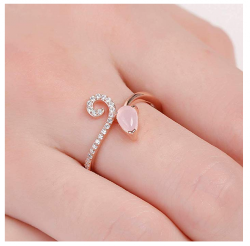 A ANGG 925 Sterling Silver Blue Topaz Pink Quartz Ring on Hand